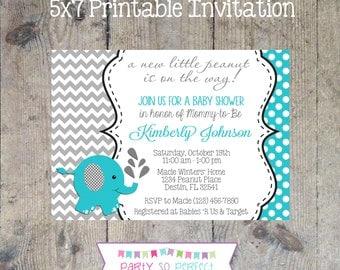 ELEPHANT Turquoise & Gray Chevron Baby Shower Invitation 5x7 - Printable