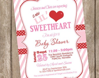 Valentine's Day Baby Shower Invitation, pink, red, chevron, hearts, lil' sweetheart, printable invitation