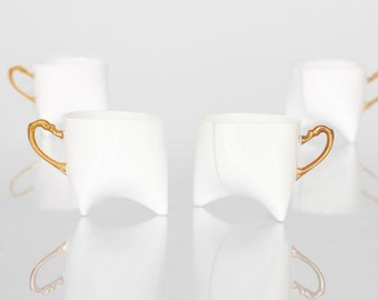Coffee cups set of four- unique coffee mug or tea cup white with gold, contemporary ceramic cup handmade by Endesign