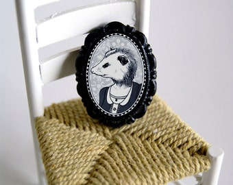 victorian style possum brooch - resin cameo - black and white girl possum portrait