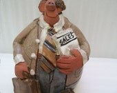 Clay and enamel Figurine, Clay Art, Salesman of the Year, Gift, Terracotta Clay Art, Home and Office, Paper Weight