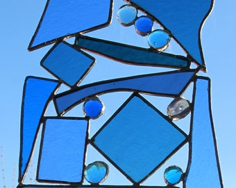 Large Stained Glass Panel Suncatcher Recycled Glass Window Wedding Abstract Upcycled - Custom Bespoke Anniversary Birthday Housewarming Gift