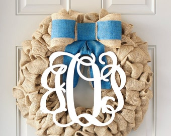 Baby monogram wreath baby boy wreath baby shower wreath for Baby shower front door decoration ideas