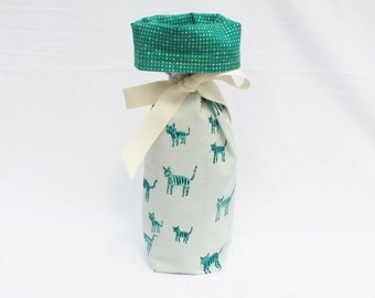 Wine Gift Bag -  Teal Tiger Stripes by Alexia Abegg for Cotton + Steel Fabrics