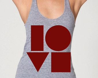 womans racerback tank top- LOVE- American Apparel athletic gray - available in XS,S,M, L- Worlwide Shipping