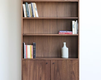 Solid Walnut Bookshelves with Adjustable Shelves