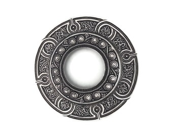 Silver Plated Brass Large Porthole Port Hole Filigree Stamping 74mm Qty 1 One Made in the USA