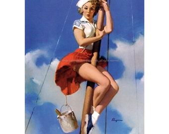 Pinup Girl Print Sailor Climbs Mast - Repro Gil Elvgren - Vintage Style