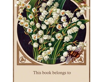 Lillies Bee Bookplates | Pack of Ten | Lily of the Valley Flowers and Honey Bee