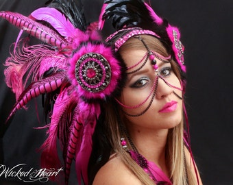 Pink Tribal Feather Headdress - MADE TO ORDER