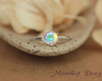 Opalescent Topaz Classic Solitaire in Sterling - Vintage-style Silver Unique Engagement Ring or Promise Ring - Diamond Alternative