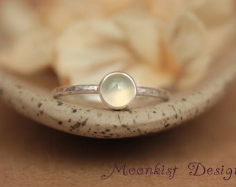 Delicate White Moonstone Promise Ring, Unique Bezel-Set Moonstone Solitaire in Sterling, Moonstone Engagement Ring, Bridesmaid Gemstone Ring