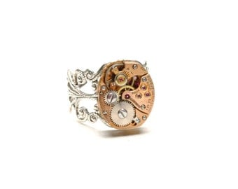 Steampunk Ring Steam Punk Ring ROSE GOLD Steampunk Watch Ring Silver Steam Punk Watch Ring Victorian Steampunk Jewelry Victorian Curiosities