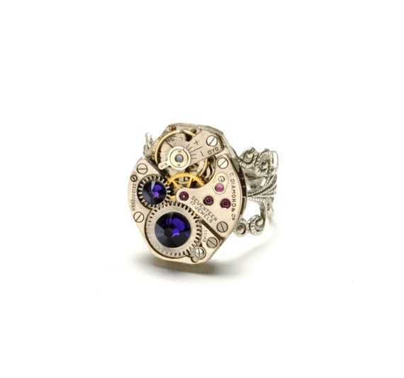 RICH PURPLE Steampunk Ring Steampunk Watch Ring PURPLE Silver Steampunk Ring Steam Punk Jewellery Steampunk Jewelry By Victorian Curiosities