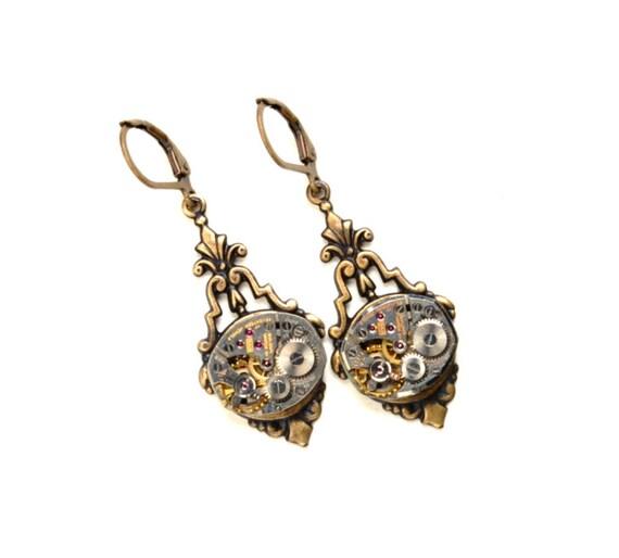 VICTORIAN Steampunk Earrings Steampunk Watch Earrings Steampunk Wedding Brass Steam Punk Victorian Steampunk Jewelry Victorian Curiosities