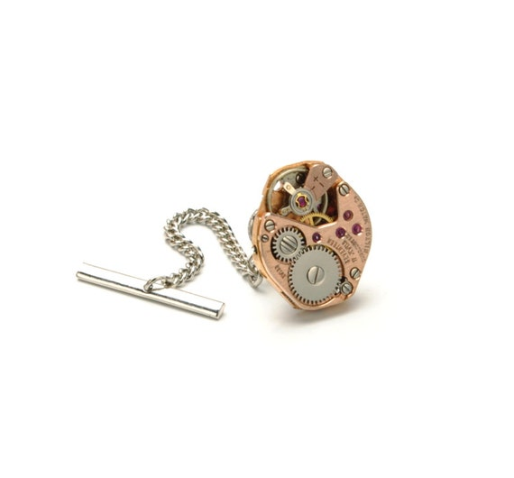Steampunk Tie Tack ROSE GOLD Watch Tie Pin Silver Ascot Cravat Pin Wedding Steampunk Jewelry by Victorian Curiosities
