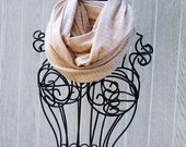 Light Beige with Gold Metallic Zebra Stripes Knit INFINITY SCARF-Fashion Scarf -Spring/Summer Scarf-Statement Scarf by The Accessories Nook