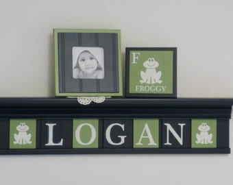 Froggy Art Wall Decor, Personalized Baby Boy Nursery Frog Gift, Dark Navy Blue Shelf with Custom Plates Painted in Light Green and Navy