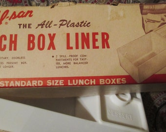 1950's Lunch Box Liner. Sal-san Lunch box liner. Hard to Find with Original Box. Made in USA.  G-027