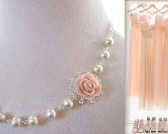 Blush necklace pearls necklace Pink Blush Flower Necklace Bridesmaid gift Thank you card Floral jewelry Blush Rose necklace