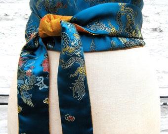 Teal Dragon Brocade and Gold Shantung Reversible Obi Sash