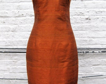 Orange Rust V-neck Cap-Sleeve Fitted Silk Shantung Sheath Dress-Custom Made to Order