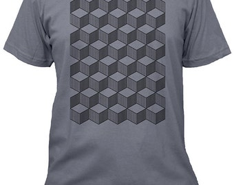 Geometric Shirt - Tumbling Blocks Mens Tshirt - 4 Colors Available - Mens Cotton T Shirt - Gift Friendly