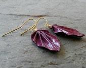 Deep Purple Shimmer Origami Leaf Earrings