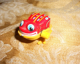 """Hopping Frog Tin Litho Mechanical Toy Cute Red Vintage """"YONE"""" Japan  Marked"""