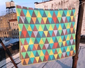 Twin quilt: Julian Price quilt  | red blue purple yellow green triangles improv modern quilt