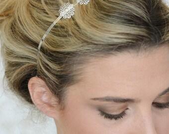 Silver Hair Band - Bridal Hair Band - pearl hair band - Wedding Hair Accessory - Bridesmaid Hair Accessory - Hair jewelry - Flower Hair Band