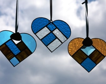 Beach Colored Stained Glass Suncatcher Heart Gold, Turquoise with Natural Shell