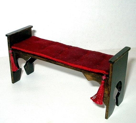 Medieval Bench Red Silk Seat Cushion Dollhouse Miniature