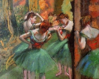 Dancers, Pink and Green - Cross stitch pattern pdf format