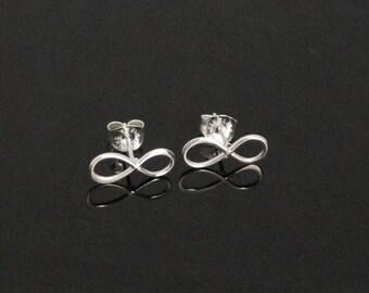 Tiny Infinity Ear Posts Weddings, Birthdays, Anniversary, Friends, Sterling Silver