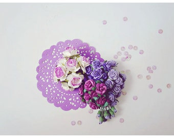 Mixed Sample Purple color Mulberry paper flower and purple paper doily combo / pack