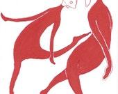 ACEO, Original Illustration Art, Red