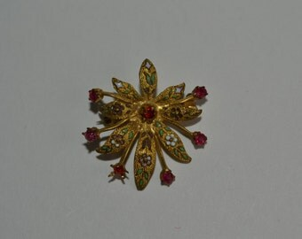 Antique Enameled Brooch - Ruby Red Pin - Something Old