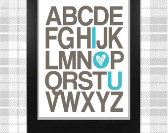 I l(HEART) you ABC Nursery Art Print!