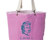 i learned to knit in prison project tote/knitting bag