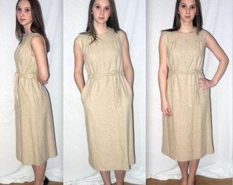 Funny Girl ... Vintage 60s 70s Dalton jumper / 1960s day dress tan beige / belted sleeveless 1970s pinafore / schoolgirl secretary .. M L