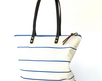 The Everyday Tote in OCEAN Stripe  //  Canvas Tote Bag  //  Large Zipper Tote  //  Leather Straps