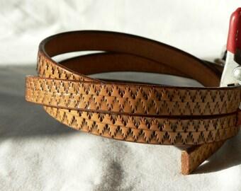 Tribal design leather belt, custom tan belt, Womens leather belt