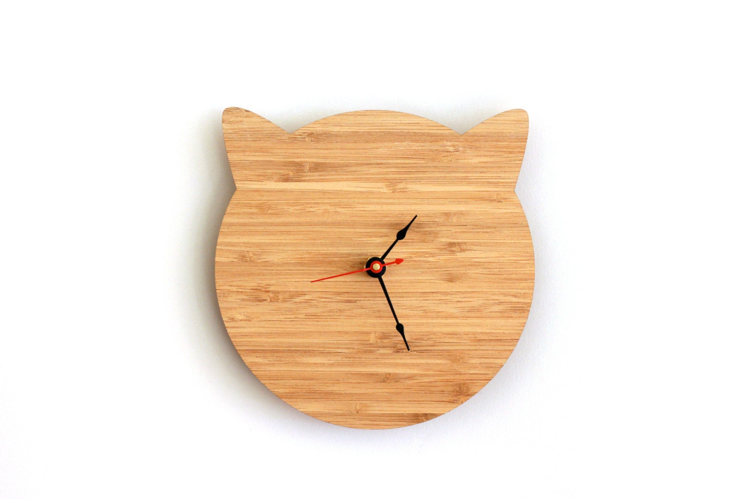 Cat clock cat lover gift for birthday walnut or cherry - Kitty cat clock ...