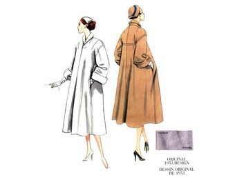 1950s Coat Pattern Uncut Vogue V1083 Reissue Swing Clutch Coats Flared Yokes Shawl Collar Roll Up Sleeves Womens Vintage Sewing Patterns