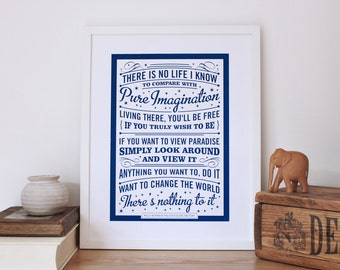 Pure Imagination Quote Print - Roald Dahl Screen Print - Willy Wonka Wall Art - Graduation Gift Print - Typography by Chatty Nora