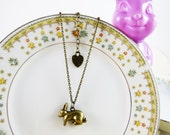 Lucky Bunny Rabbit Antiqued Brass Necklace