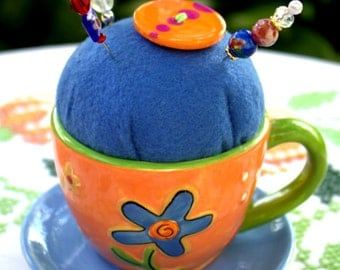 Pincushion Time cup and saucer