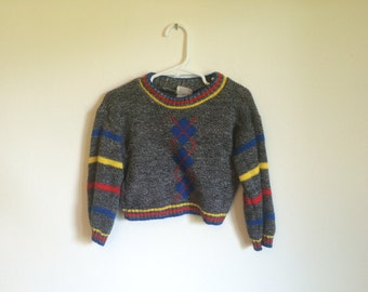 1980s Baby Boys Preppy Hipster Primary Colors Argyle Striped Sweater