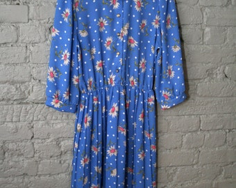 1980s blue floral polka dot shirt dress with neck scarf